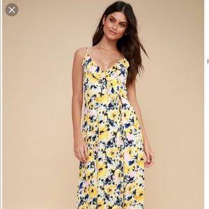Lulus yellow floral maxi dress!